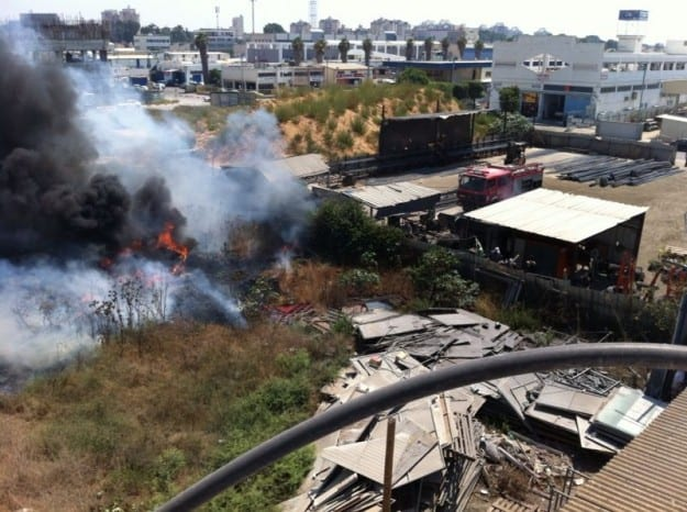 שריפה באזור התעשייה הדרומי