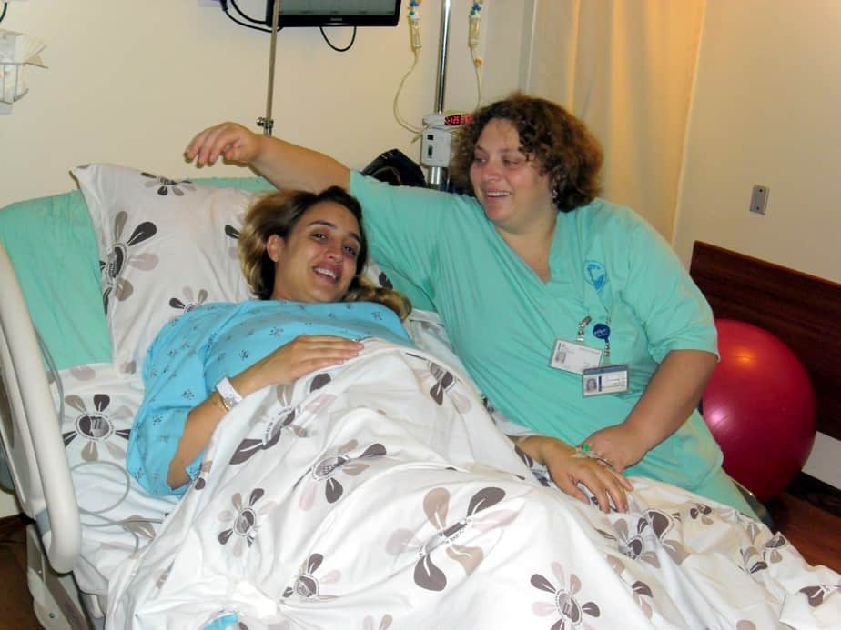 דפנה הופר ויולדת בבית החולים פוריה (צילום: דוברות פוריה)