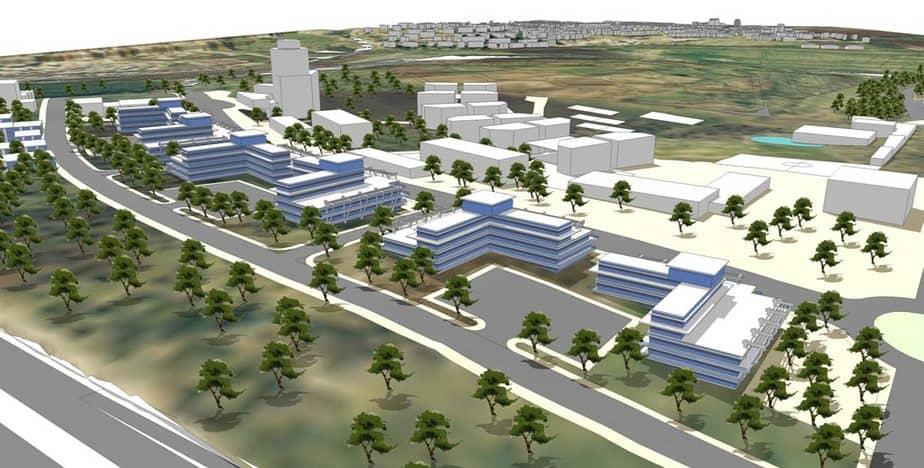 תמונת הדמיה לבית החולים בקרית אתא (צילום: משרד אדריכלים מילול קורן אדריכלים)