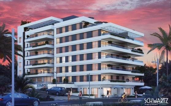 הבניין יחופה ברובו בזכוכית וקירות מסך. SCHWARTZ פרויקט יוקרה (הדמיית מחשב: משרד האדריכלים טומי ריגלר ושות')