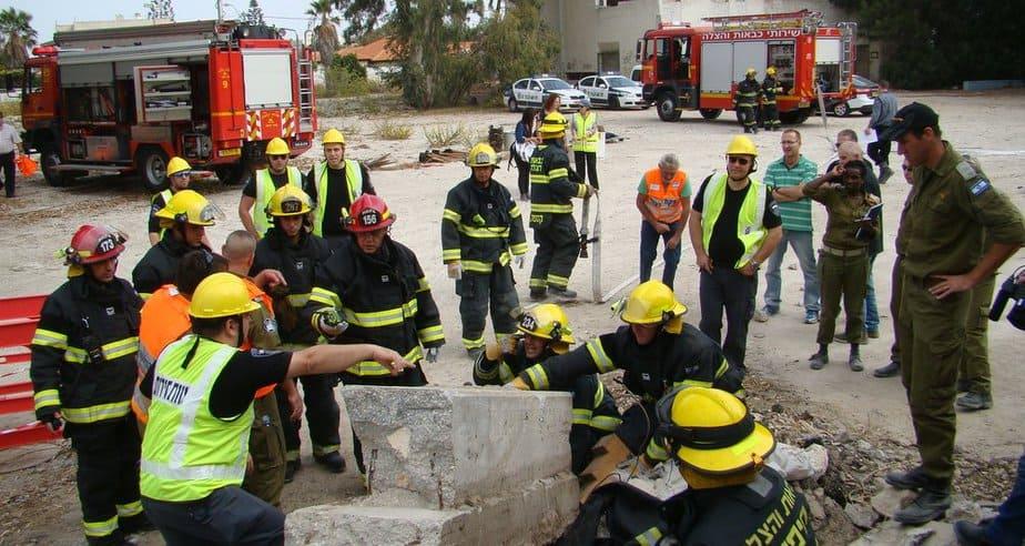 """תרגיל חירום """"שילוב זרועות 3"""" (צילום: באדיבות מערך כיבוי אש חיפה)"""