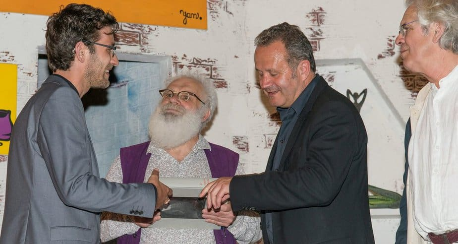 הענקת פרס טיילור לרז פיירמן (משמאל) (צילום: יעקב פיירמן)
