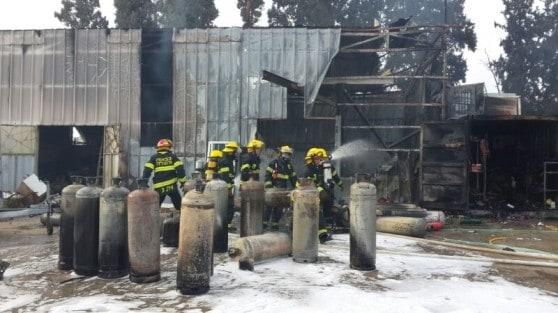 בלוני הגז בשריפה באזור התעשייה בחדרה