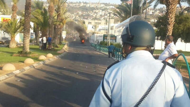 הפרות סדר במגזר הערבי, כביש 65 (צילום: משטרת ישראל)