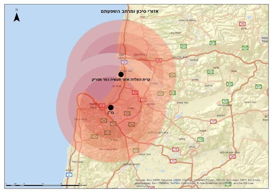 מפה: מראה שהקריות מקבלות זיהום גם מאזור עכו וגם ממפרץ חיפה  (קרדיט: חלי הירש/ קואליציה לבריאות הציבור)