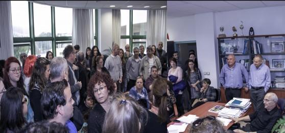 פרופסור אריה מהרשק נשיא אורט בראודה והעובדים (צילום: אלכס הובר)