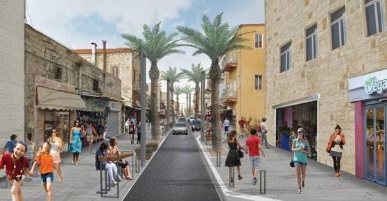 כך זה יראה. רחוב יפו חיפה (הדמיות: גרינשטיין - הר-גיל , אדריכלות נוף)