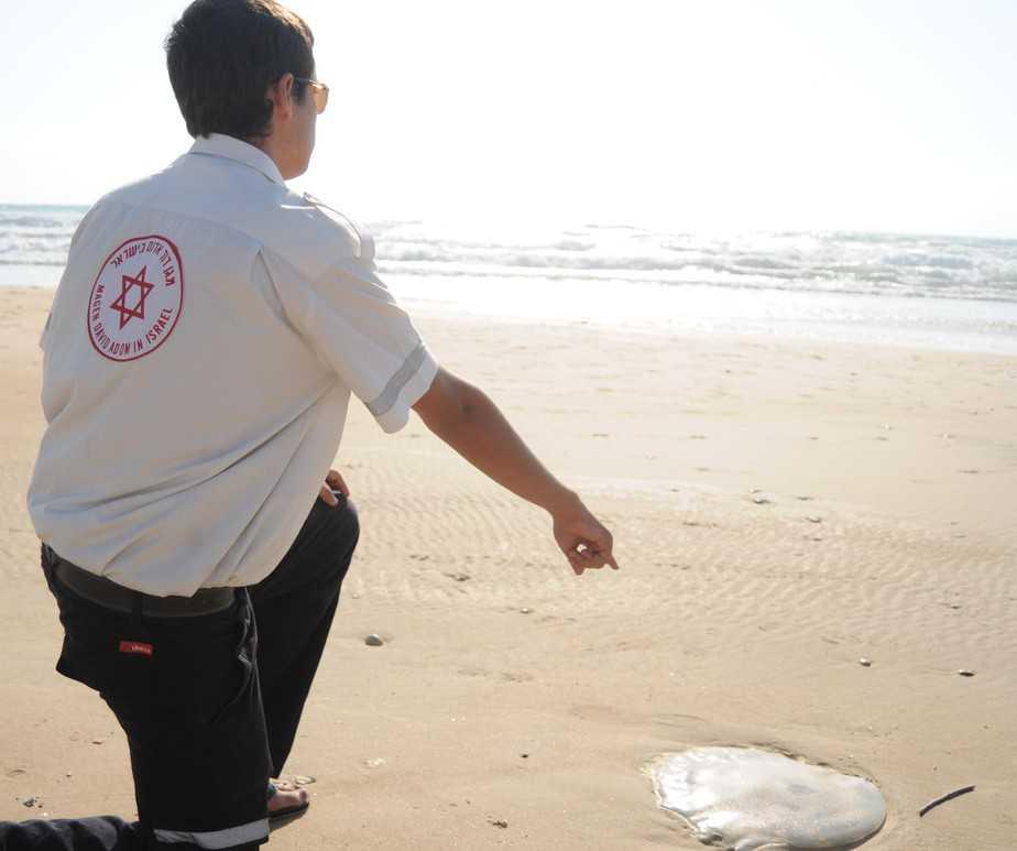 """חובש מדא נתקל במדוזה בחוף הים (צילום: דוברות מד""""א כרמל)"""