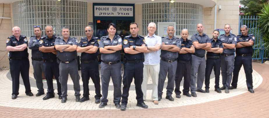 יש תחושת ביטחון. שוטרי מגדל העמק (צילום: עצמי)