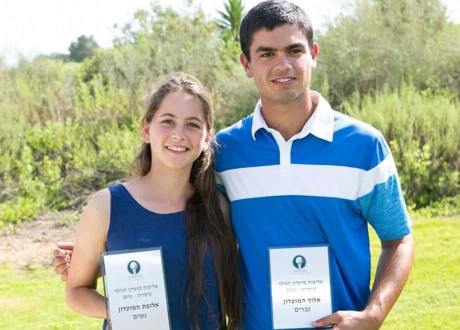 הזוכים בגולף. יאיר תאלר ודנה לרנר (צילום: גיל לבנוני)