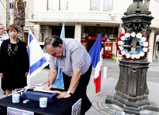 יונה יהב וקתרין קורנייה בכיכר פריז ( צילו0 : צבי רוגר\ עיריית חיפה)