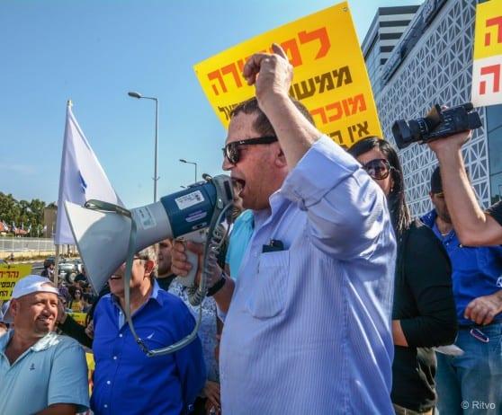 יורם ישראלי בהפגנה נגד הפגיעה בהטבות המס צילום: דורית ריטבו