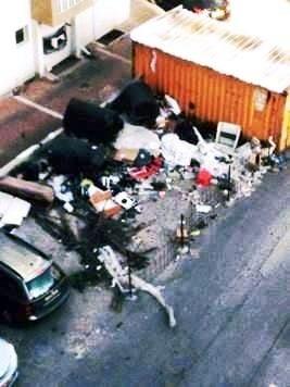 ערימות פסולת. התמונה שהגיעה בווטסאפ (באדיבות עיריית חדרה)