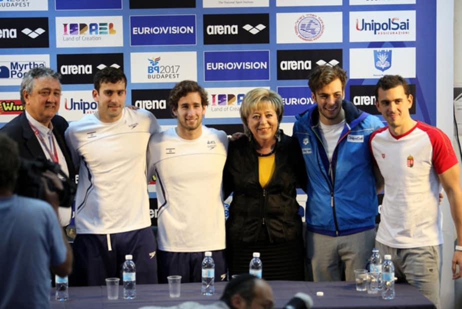 מסיבת העיתונאים בפתיחת אליפות אירופה בשחייה בווינגייט (צילום: באדיבות איגוד השחייה)