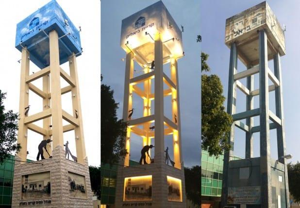 תהליכי שיפוץ מגדל המים ההיסטורי בקרית ביאליק (צילום: הלל לזרוב)