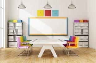 Modern boardroom with colorful chair and white meeting table - 3D Rendering