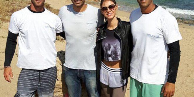 רוסלנה רודינה עם אלדד, מוטי, ואיתם (צילום: טרק ים אכזיב)