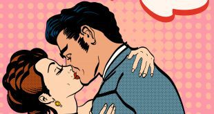 Lovers kissing man kisses woman romantic hug retro style pop art