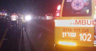 """זירת התאונה. כביש 581 צילום: דוברות מד""""א שרון"""
