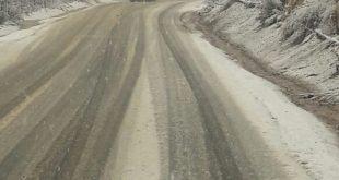 שלג במבואות החרמון (צילום: נתיבי ישראל)