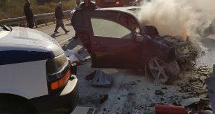 הרכב עלה באש. צילום: חיאן שירותי הצלה
