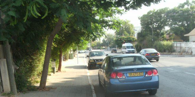 רכבים חונים באדום לבן בנווה פרדסים (צילום: נירית שפאץ)