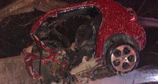 הרכב ההרוס אחרי התאונה (צילום דוברות המשטרה)
