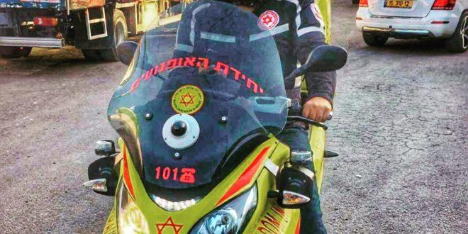 """כונן מדא רכוב על אופנוע מד""""א רייס פיראס - (צילום וליד שלאעטה דוברות מד""""א"""