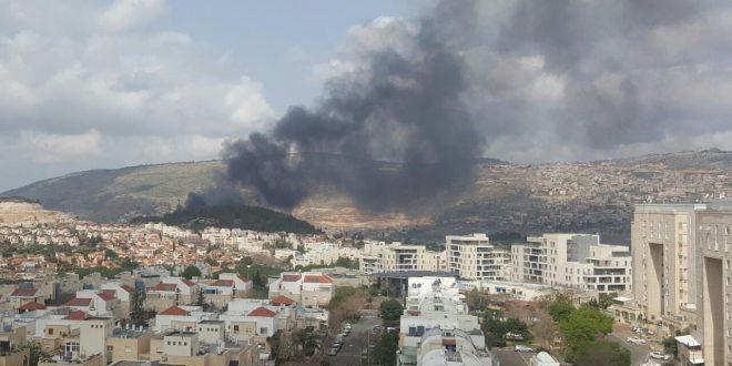 עשן השריפה מהמפעל צילום: כיבוי אש מחוז צפון