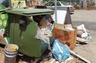 """""""רכב הטיאוט לא נכנס לפה"""". פח אשפה בשכונה (צילום: פרטיים)"""