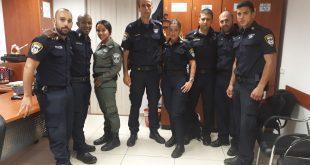 """שוטרי המשמרת (מימין לשמאל): ויאם נבואני, אופיר כהן, סאמח ביבאר, שובל דה פז, מישל עדי, סיירת מג""""ב חוף תהל, בר יוסף, גל בירסאו, אושר אבדלק"""