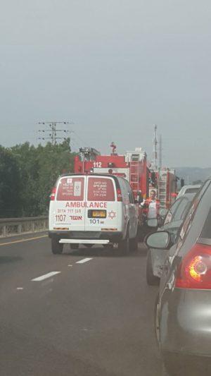 פקק בעבקות תאונה בכביש 89 השבוע צילום: מירב זגה