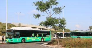 הנסיעה הראשונה של האוטובוס החשמלי. צילום: המשרד להגנת הסביבה