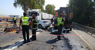 מקום תאונה (צילום דוברות המשטרה)