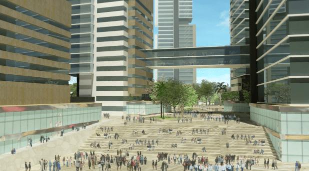 מבט אל רחבת ההתכנסות העירונית. לב העיר (הדמיה: בר לוי אדריכלים)