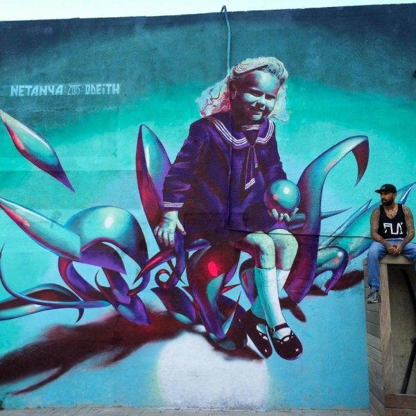 הגרפיטי והצייר ODEITH (צילום: מוטי פנחסי)