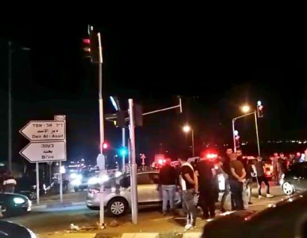 זירת התאונה בכביש 85 ( צילום חיאן)