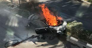 הפיצוץ במכוניתו של אליעד וקנין צילום: חדר מצב קדמי