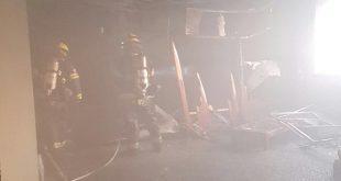 הסאונה לאחר השריפה. צילום כבאות מחוז