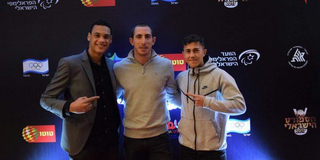 לוחמים מצטיינים. המאמן אלכס דר עם חניכיו, אלעד סומן ועמית מדאח (צילום: באדיבות עיריית מעלות)