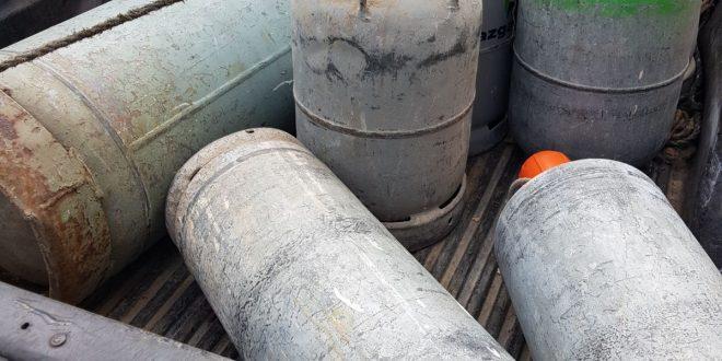 בלוני גז שהוחרמו (צילום דוברות המשטרה)