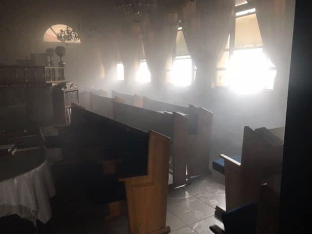ועלים לכיבוי השריפה. בית הכנסת בנהריה צילום כיבוי אש גליל מערבי