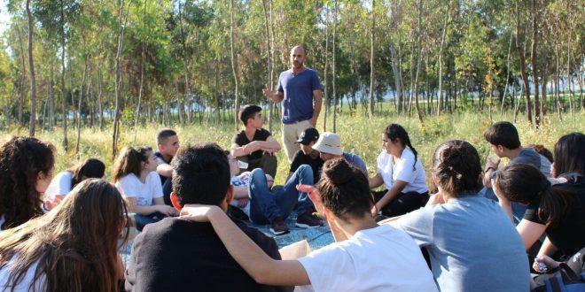 התלמידים בשדות תל עדשים (צילום עצמי)
