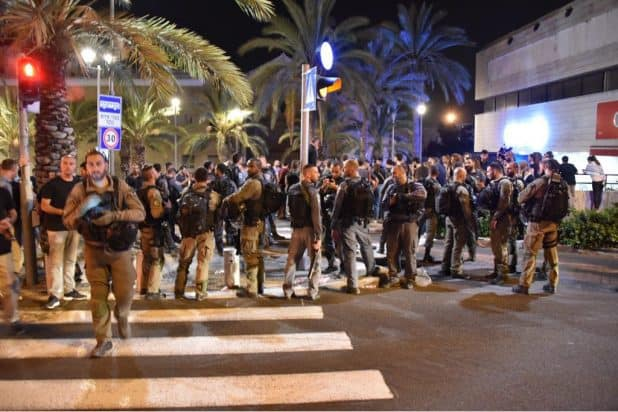 חופש ביטוי והפרות סדר. ההפגנה בחיפה צילום: דוברות המשטרה