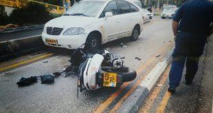 זירת התאונה ליד בית המשפט בקריות צילום עצמי