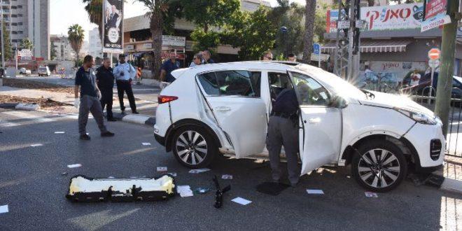 הרכב שהתפוצץ (צילום דוברות המשטרה)