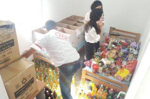 """איסוף מצרכים למען הקהילה. צילום: דוברות מד""""א"""