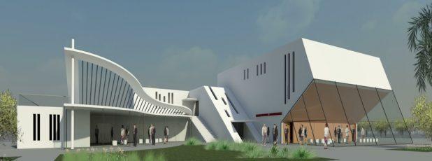 האודיטוריום החדש שיוקם בקרית ים. הדמיה