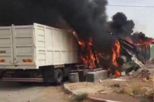 האש התפשטה במקום (צילום דוברות כבאות)