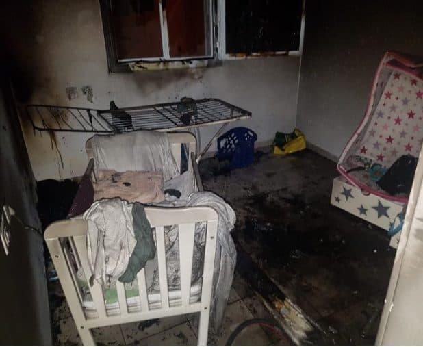 הבית שעלה באש (צילום דוברות כבאות)